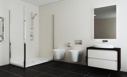 Modernes Badezimmer in der Trendfarbe Grau
